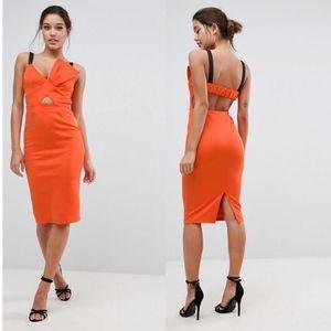 ASOS Bow Bust Strappy Midi Bodycon Dress Scuba Neo